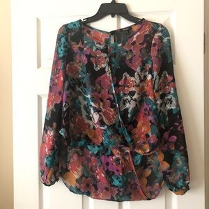 XOXO high low sheer floral blouse